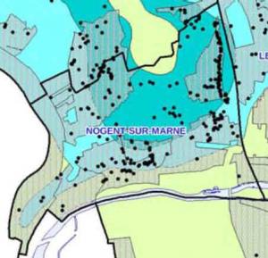Carte de localisation des sinistres à Nogent