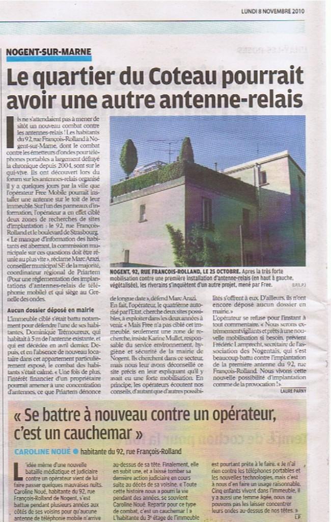 article le parisien antennes free 8 nov 2010