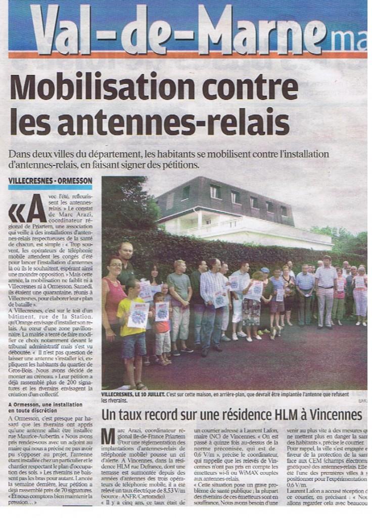 """""""Une"""" du Parisien Val de Marne, samedi 17 Juillet"""
