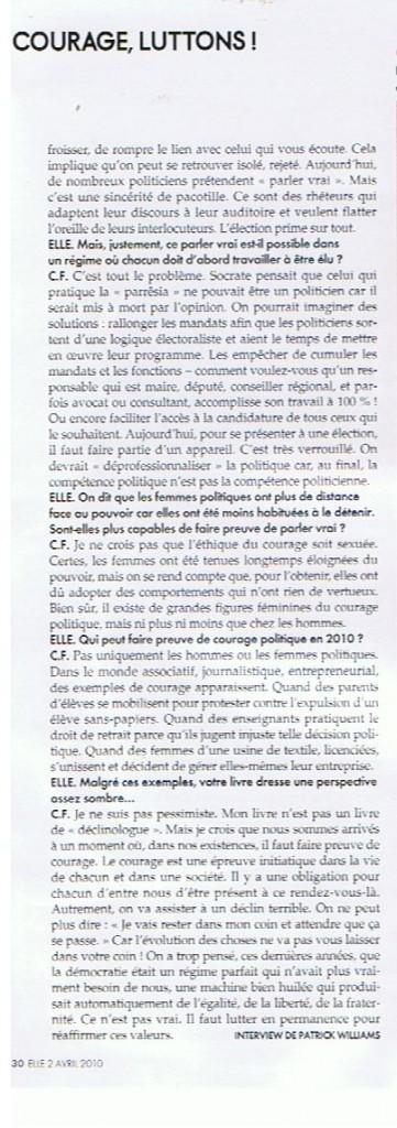 article ELLE avril 2010 le risque en politique p2