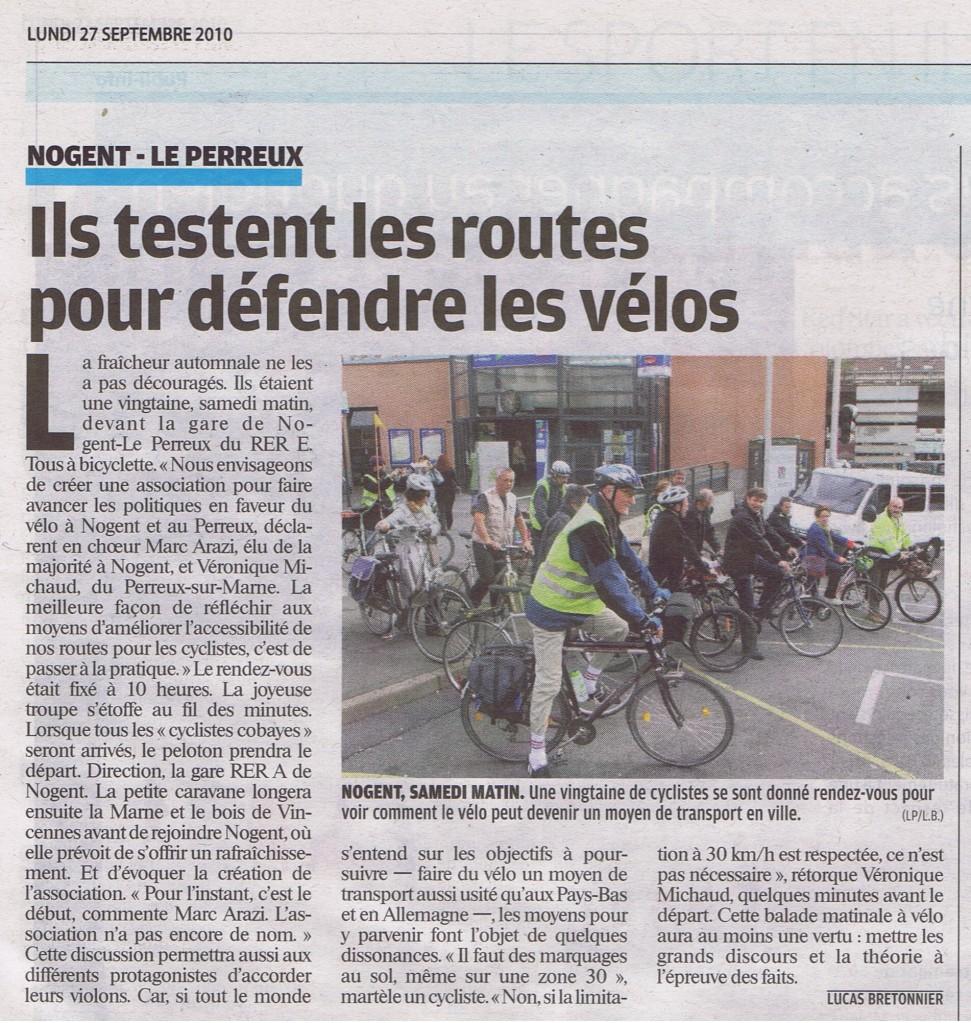 article le parisien sortie vélo 25sept 200