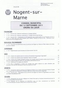 Ordre du jour du CM 12 sept 2011