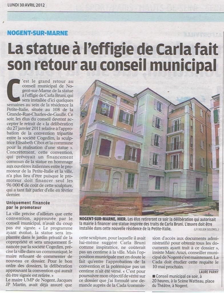 Le parisien vdm 30 avril 2012 CM délib Statue