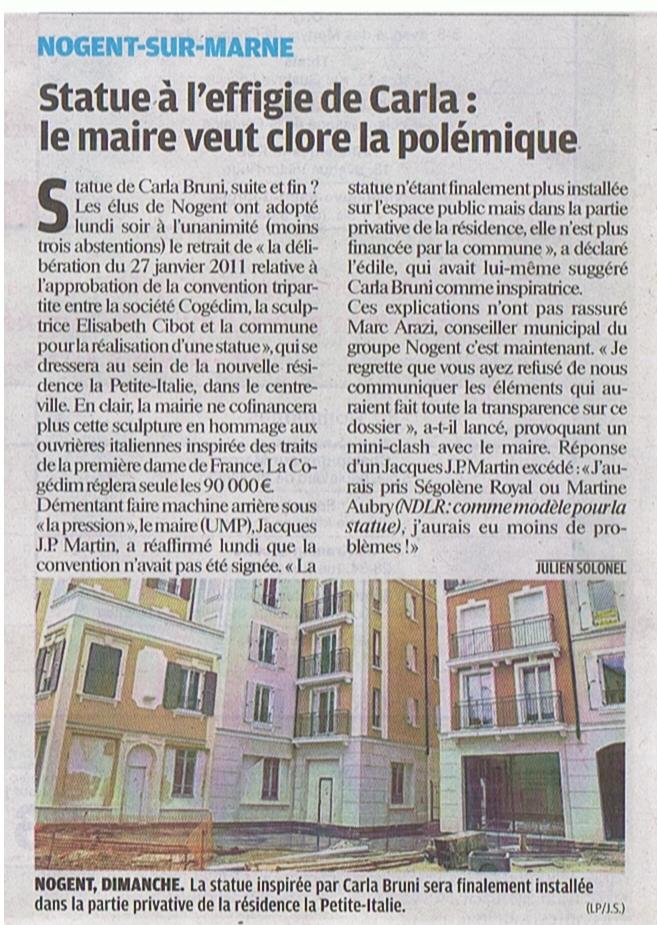 article le parisien vdm 2 mai 2012 statue suite CM