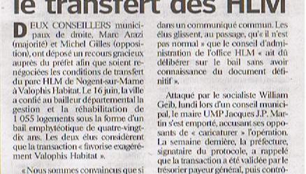 Le Préfet du Val de Marne saisi d'un recours gracieux contre la signature du bail entre Nogent Habitat OPH et Valophis Habitat