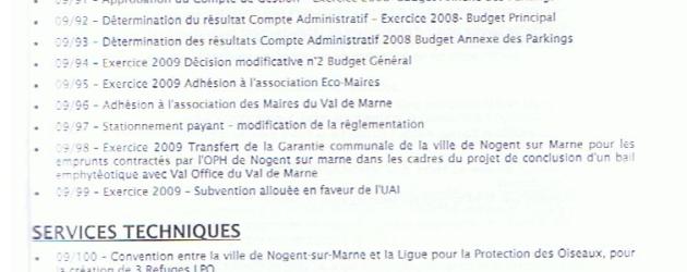 Ordre du jour du conseil municipal du 22 juin 2009 et informations municipales en ligne