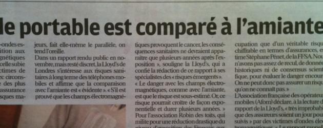 Santé : un rapport du ré-assureur Lloyd's compare le portable à l'amiante