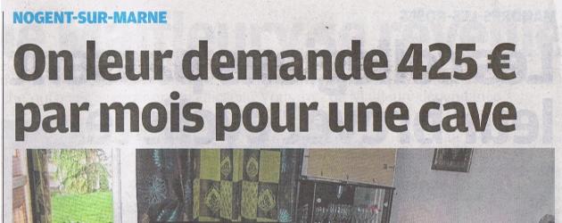 Le Parisien Val de Marne évoque les conditions de vie de Nogentais vivant dans des caves et mon intervention