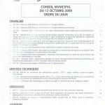 ordre du jour du conseil municipal du 12 oct 2009p1