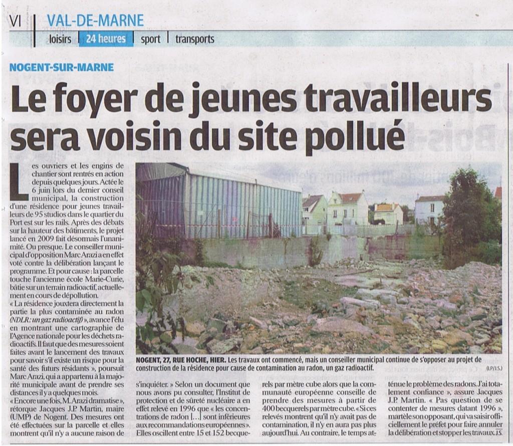 le parisien vdm foyer jeunes travailleurs-Marie-Curie 16 mai 2011