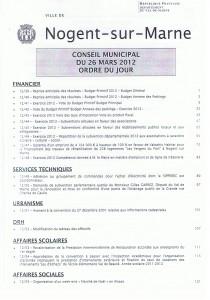 Ordre du jour du Conseil Municipal du 26 mars 2012 p1