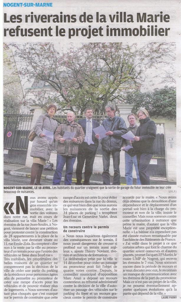 le parisien val de marne villa marie 26 avril 2012